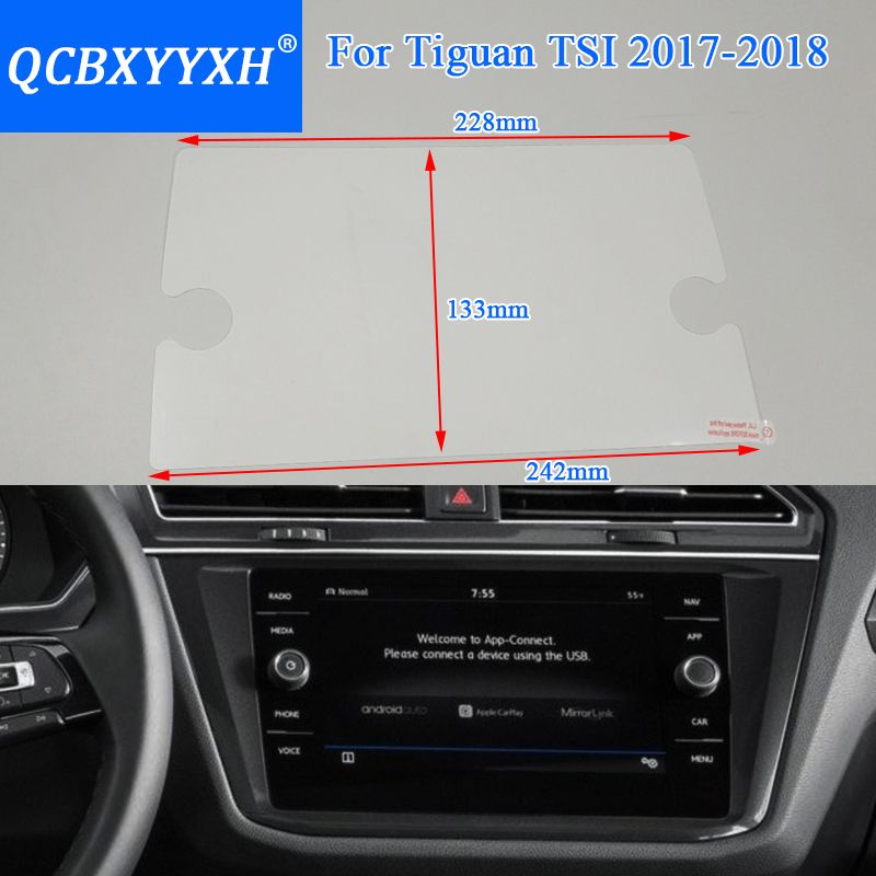 QCBXYYXH Car Styling GPS Navigation Screen Glass Protective Film For Volkswagen Tiguan 2018 Control of LCD Screen Car Sticker