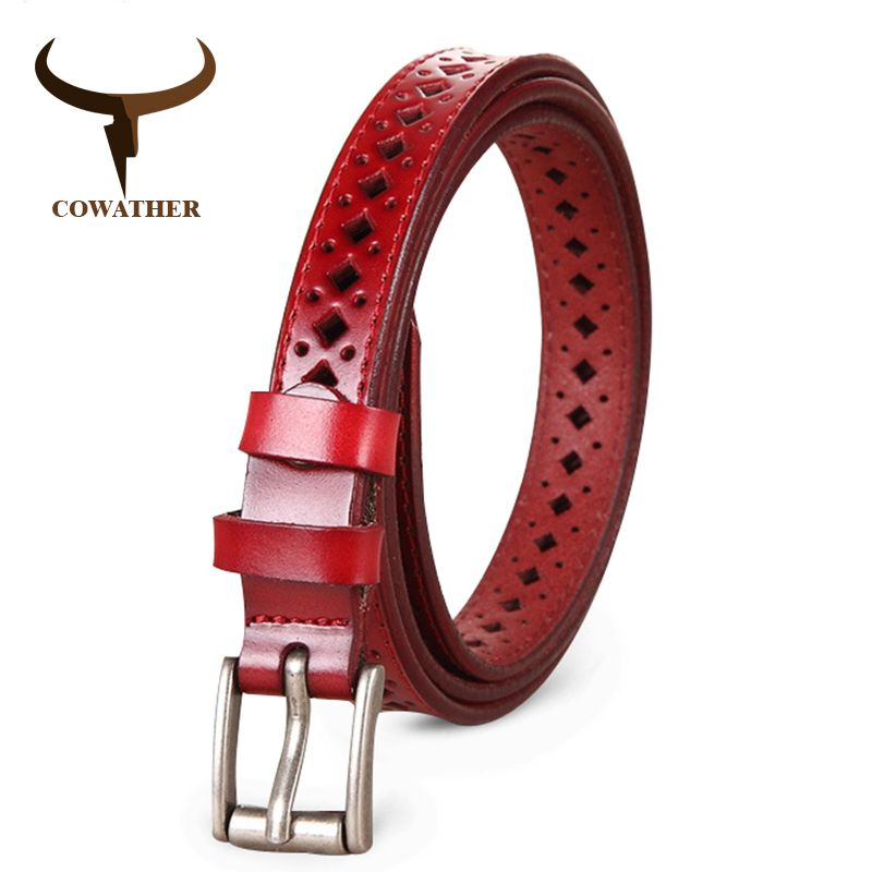 COWATHER 2017 Good Women belts cow genuine leather pin buckle vintage style top quality newest luxury female strap original