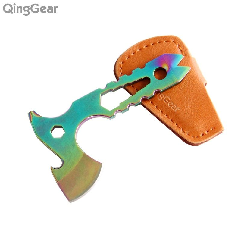 QingGear Neck Axe Mini Multi-Tool Knife Nail Puller Mini Prybar Screwdriver Bottle Opener With Leather Sheath Free shipping