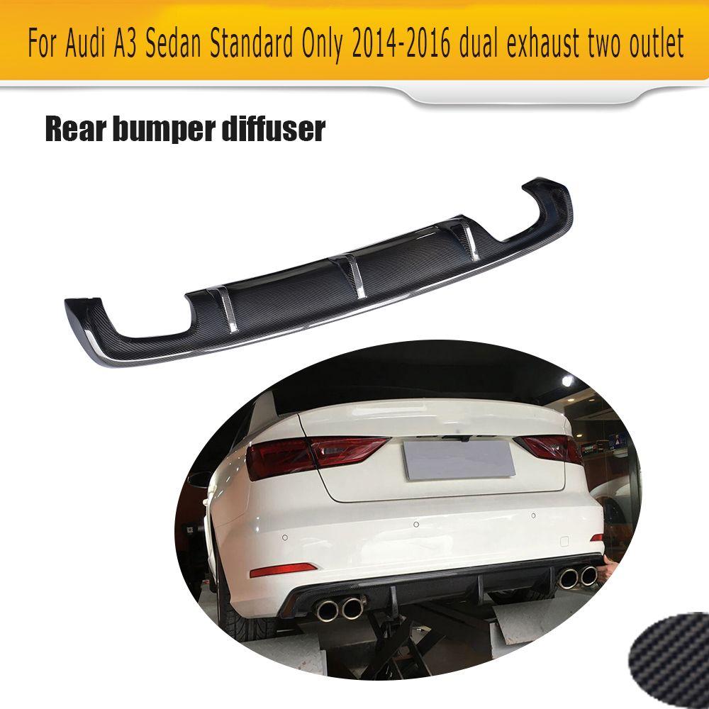 Carbon Fiber Auto Racing Rear Diffuser Lip Spoiler for Audi A3 Standard Sedan 4 Door 8V 14-16 Non Sline Black FRP Four outlet