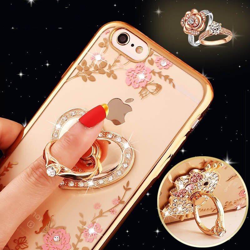 Bling Diamant-kasten für Samsung S6 S7 Rand S8 Hinweis 3 4 5 für iPhone 5 s 6 s 7 8 X Plus Fingerring Kitty Pfau Halter Telefon fall