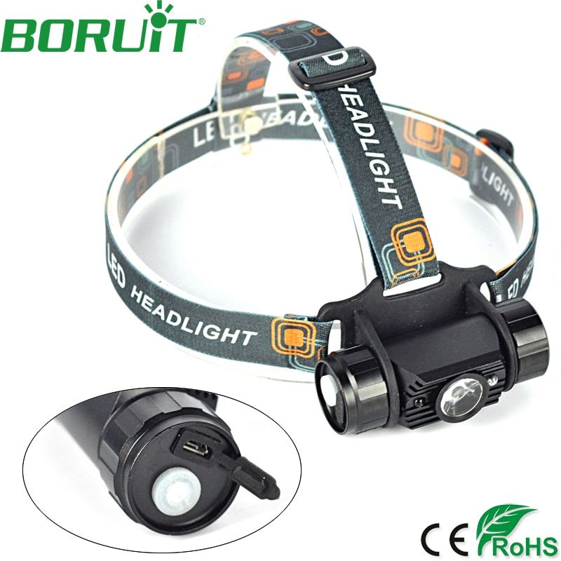 Boruit 800lm 3 Вт Мини ИК Сенсор фар индукции USB Перезаряжаемые Lanterna светодиодный налобный фонарик Налобный фонарик 18650 Батарея
