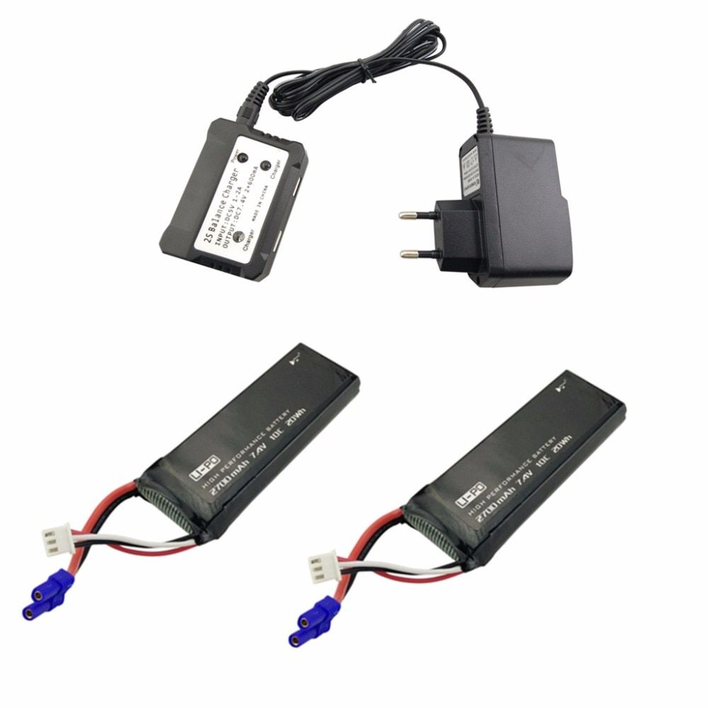 2PCS 7.4V 2700mAh Model Battery with 2 in 1 Euro Charger for Hubsan X4 H501S H501C H501A H501C H501M H501S W H501S pro