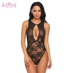 Avidlove 2018 New Lingerie Sexy Hot Erotic Underwear Women Spaghetti Strap Backless Lace Mesh One Piece Bodysuit Sex Clothes