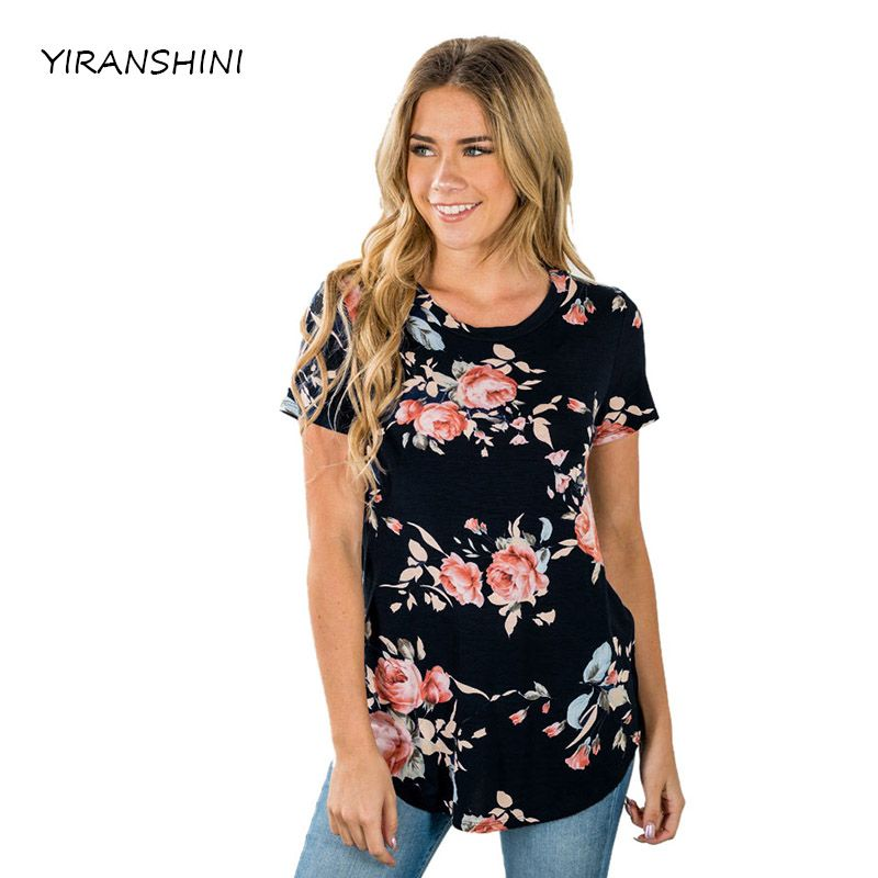 YIRANSHINI New Sexy Party Lady Short Sleeve Black Flower Print Women T-shirts Casual Hollow Out Womens Tops LC250067