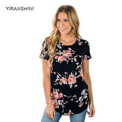YIRANSHINI Nouveau Parti Sexy Lady Manches Courtes Noir Fleur Imprimer Femmes T-shirts Casual Évider Femmes Tops LC250067