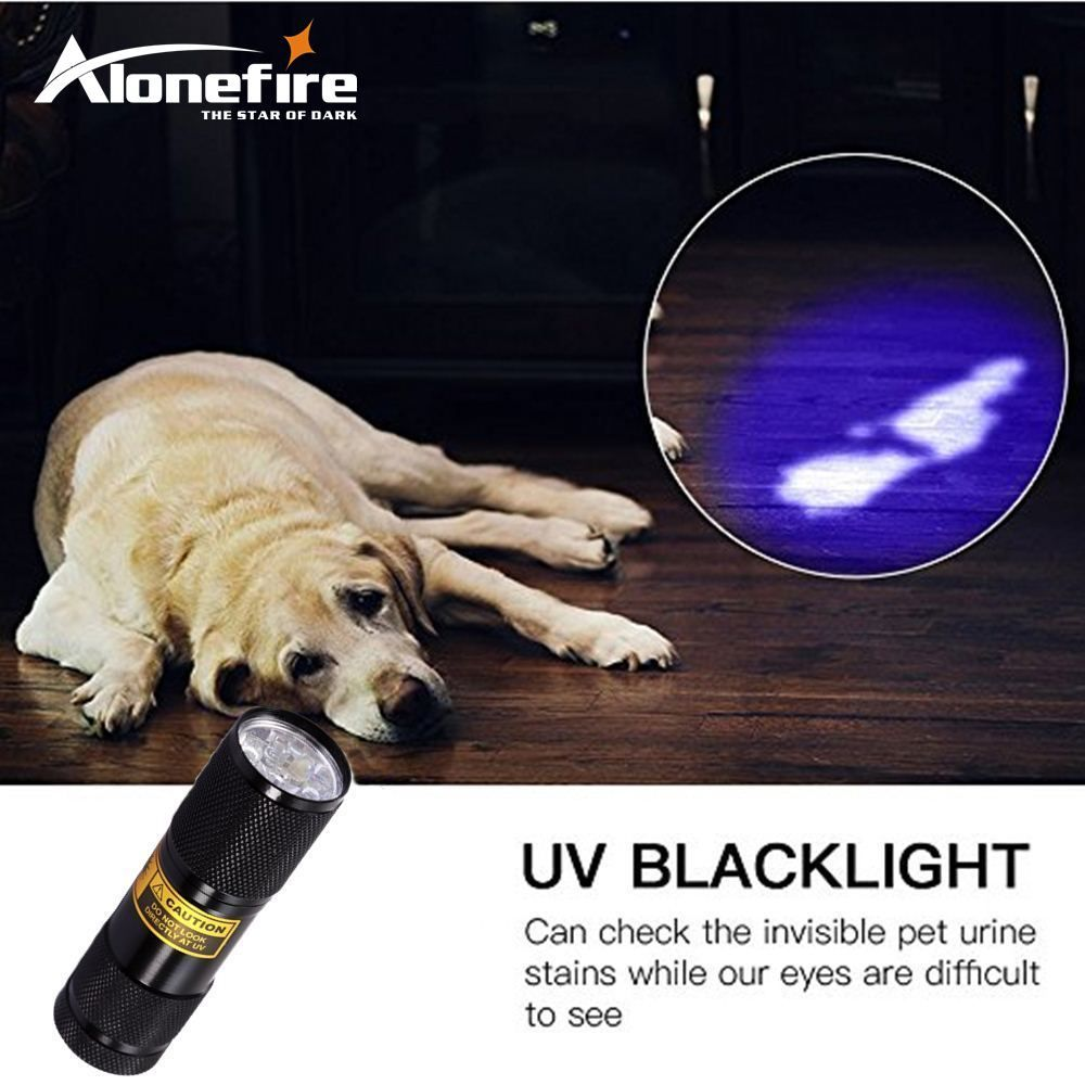 Alonefire 3aaa 9led aluminium invisible blacklight détection d'encre marqueur uv ultra violet mini lampe de poche lampe torche lampe