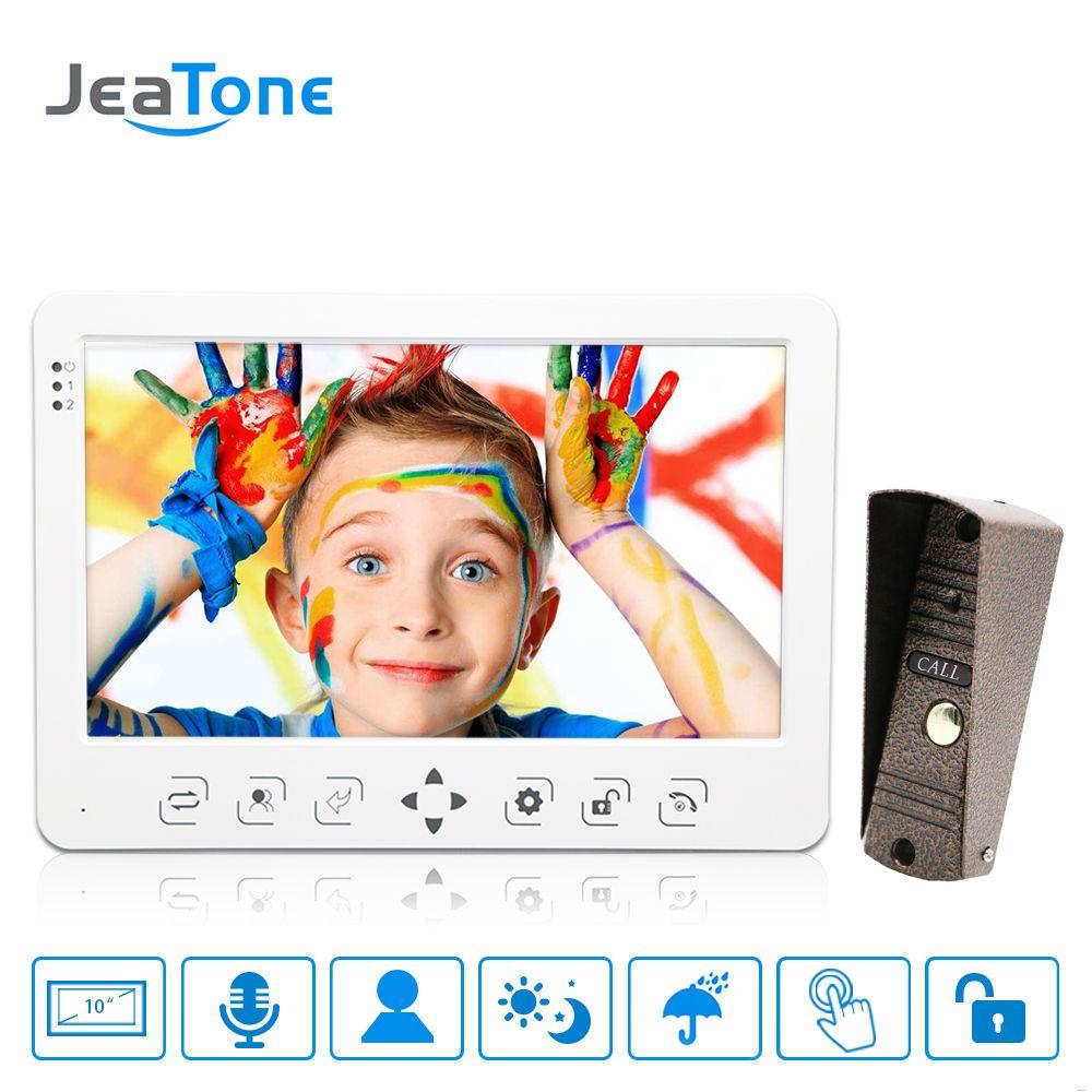 10 inch LCD Touch Key Monitor Video Door Phone Doorbell Intercom System Recording & Picture Night Vision Doorbell Panel 1200TVL
