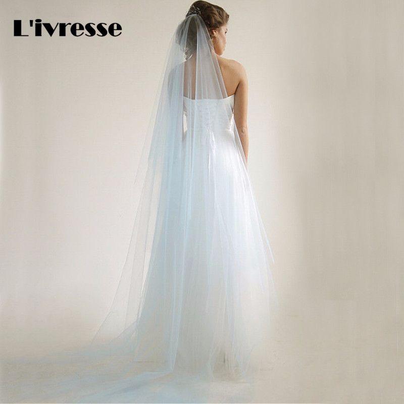 Simple Baby Blue Tulle Wedding Veils one Layer Cut Edge Long Bridal Veils Custom Made Wedding Accesories