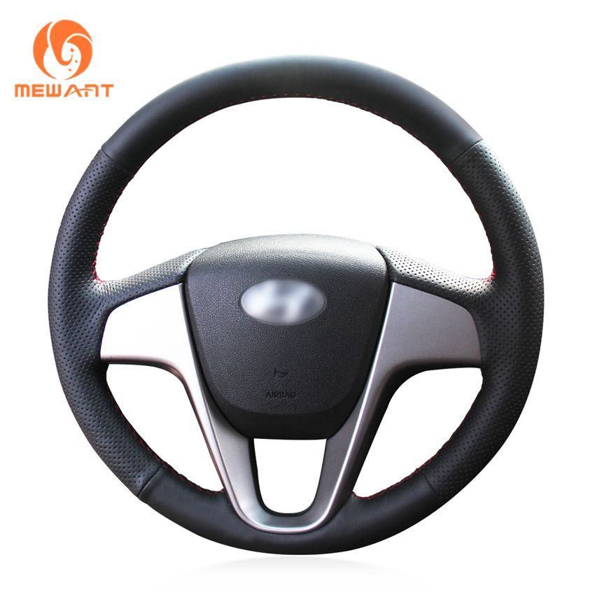 MEWANT Black Artificial Leather Car Steering Wheel Cover for Hyundai Solaris 2010-2016 Verna 2010-2016 i20 2009-2015 Accent