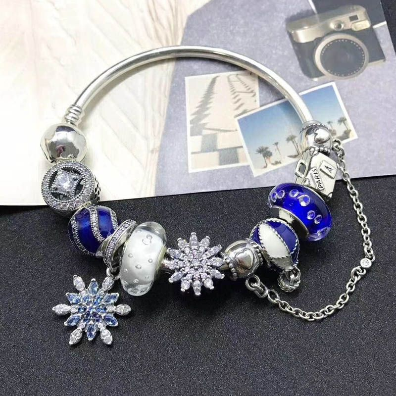 New Collection Top Quality Fashion Beautiful Gift Silver Jewelry Blue Snowflake Series 925 Sterling Silver Charm Bracelet