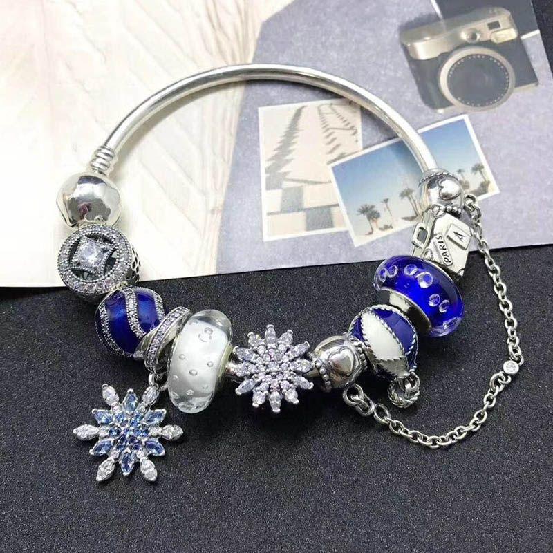 Nouvelle Collection Top Qualité Mode Belle Cadeau Bijoux En Argent Bleu Flocon De Neige Série 925 Sterling Silver Charm Bracelet