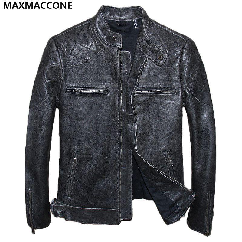 2018 Vintage Black Men Biker Leather Jacket Plus Size XXXL Genuine Cowhide Winter Slim Fit Leather Motorcycle Coat FREE SHIPPING