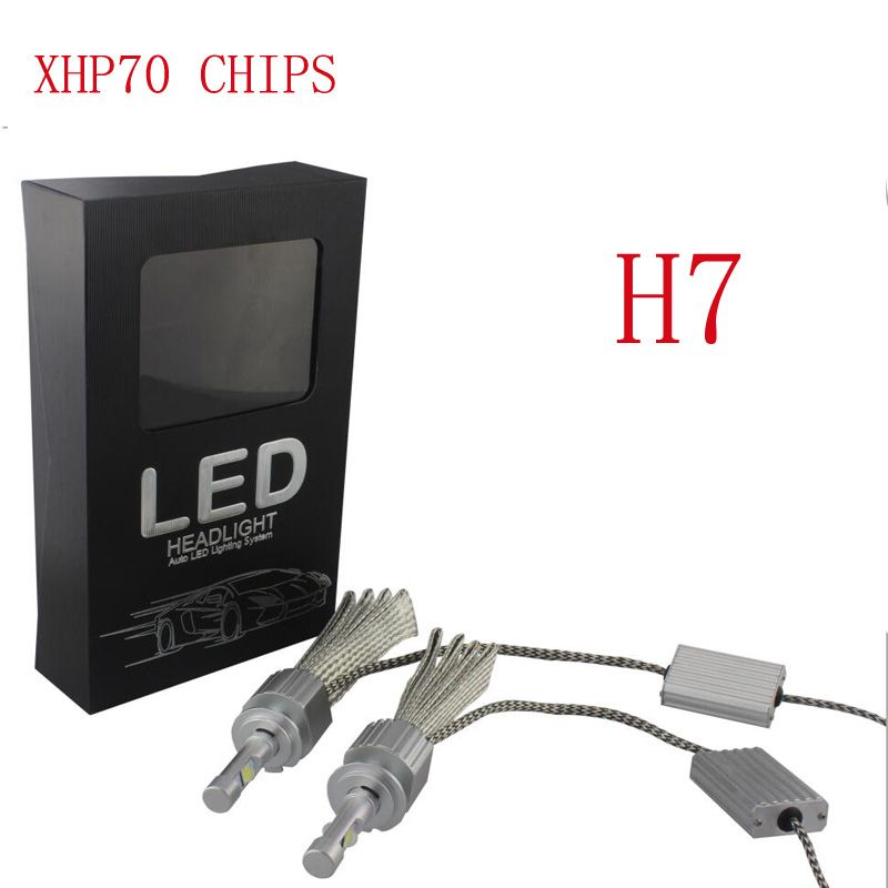 TOYIKIE Car Fanless LED Headlight Kit For Cree Chips xhp70 LED 6000K Replacement 55W 6600LM bulb H4 H7 H8 H9 H11 9005 9006 9012