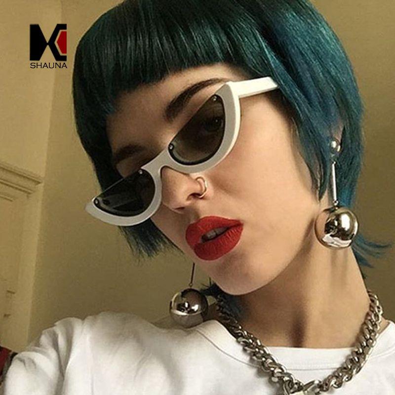 SHAUNA Unique Half Frame Women Cat Eye Sunglasses Brand Designer Fashion Ladies Pink Tint/Clear Lens Shades