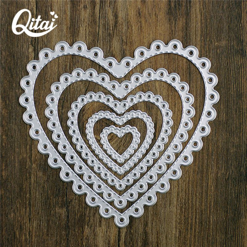 QITAI Metal Cutting Dies Scrapbooking Stencils Heart Shape DIY Cards Photo Album Decoration Embossing Die Cutter Template D70
