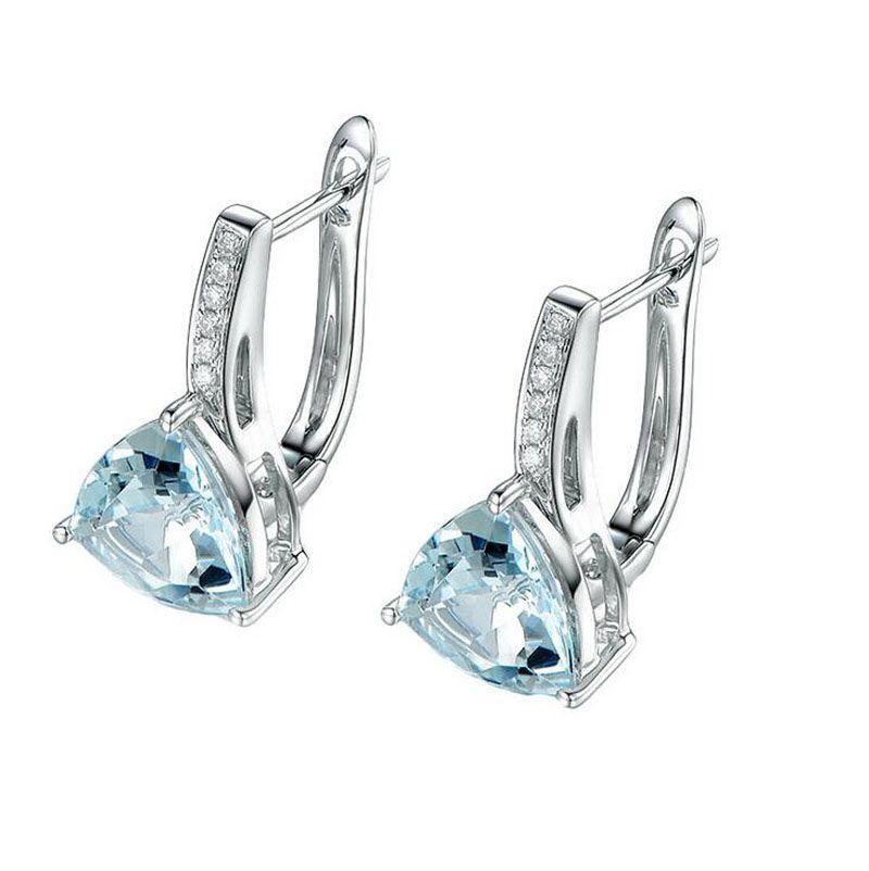 Fashion Austria Blue Crystal Zirconia Heart Shape Hoop Earring Small Loop Huggies Earring for Grils  Women Popular Jewelry E262