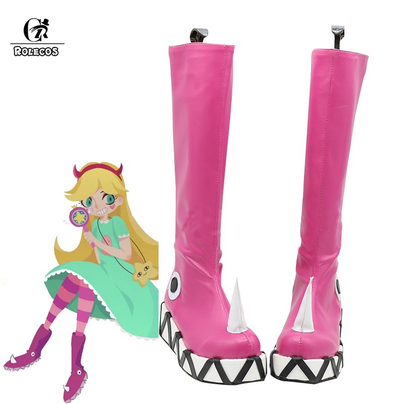ROLECOS Anime Star vs. Cosplay Shoes The Forces of Evil Women Cosplay Boots Princess Star Butterfly Pink