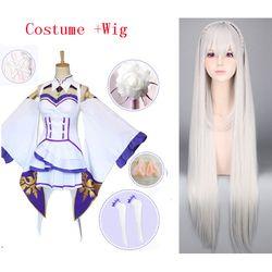 Re Zero Kara Hajimeru Isekai Seikatsu Emilia Cosplay Wig Kostum Wanita Gaun dengan Bulang untuk Pesta Halloween