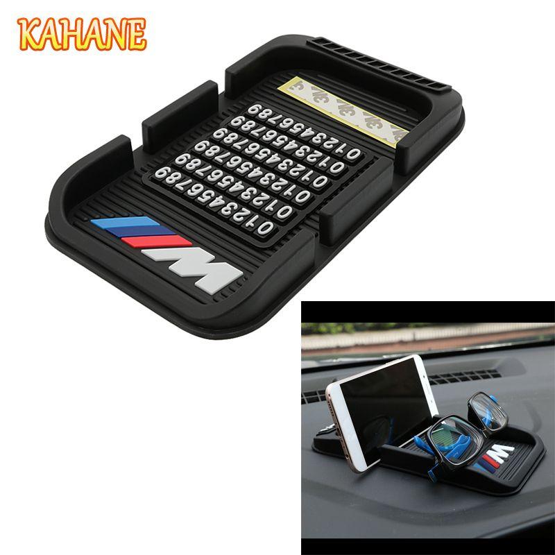KAHANE ///M Logo 3D Car Phone Non-Slip Mat with Phone Number Support Holder Mounts GPS Sat Nav For BMW E30 E46 E39 F30 F20 F10 M