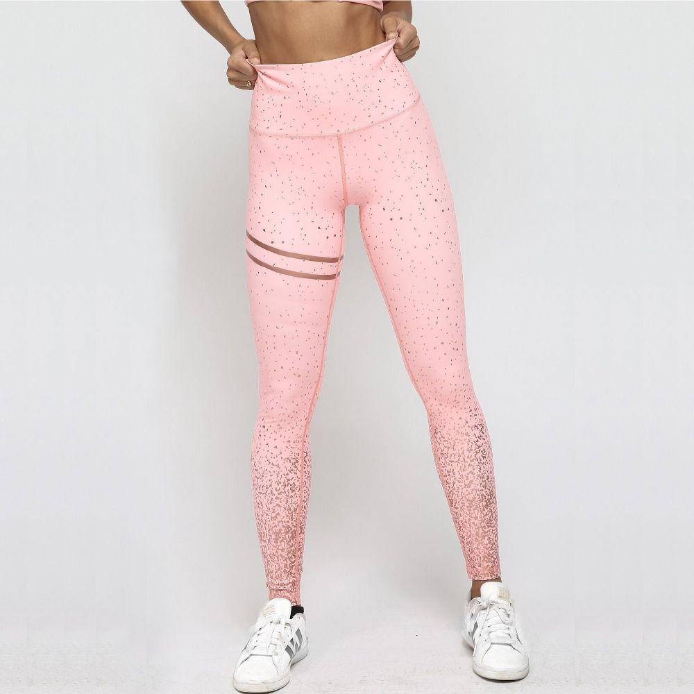 New Hotsale Women Pink Rosed Gold Print Leggings High Waist Women Sportwear Clothes Black Fitness Leggins