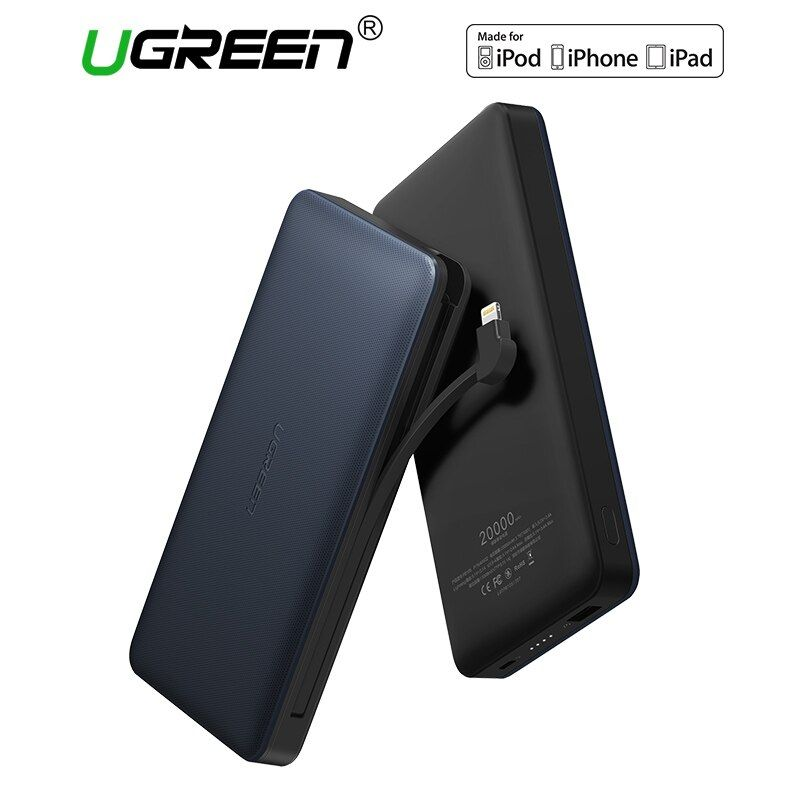 Ugreen 20000 mah Batería Externa Powerbank Banco de Potencia con Cable de Carga Portátil para Android y IOS Teléfonos Móviles Banco de Potencia