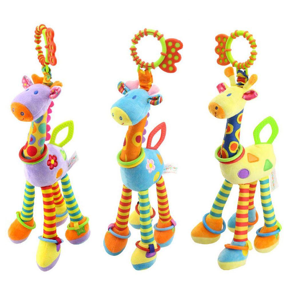 Quality deer plush toys bed baby mobile <font><b>hanging</b></font> baby rattles toy giraffe with bell ring infant teether Toys gift