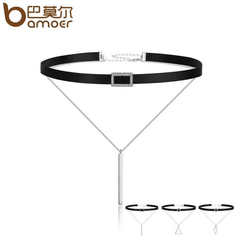 BAMOER Trendy <font><b>Double</b></font> Layer 925 Sterling Silver & Black Braid Bar Square Chokers Pendant Necklaces Femme Collar Jewelry SCN080