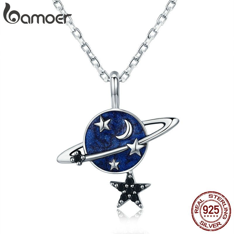 BAMOER Trendy Genuine 925 Sterling Silver Secret Planet Sparkling Star Pendant Necklace for <font><b>Women</b></font> Sterling Silver Jewelry SCN230