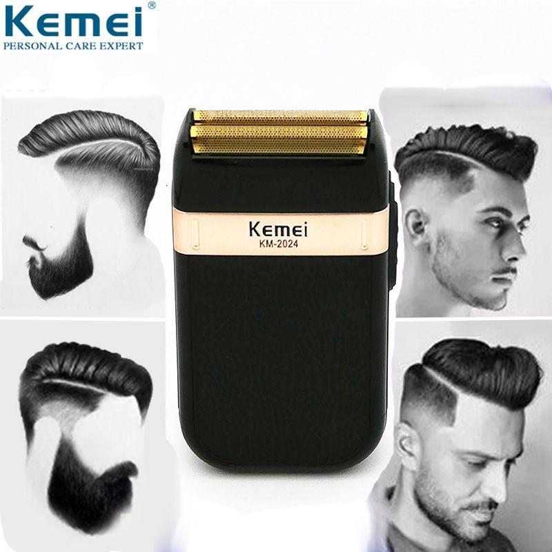 Kemei rasoir électrique pour hommes double lame étanche alternative rasoir sans fil USB Rechargeable rasoir tondeuse barbier