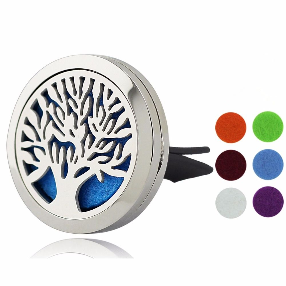 30mm Tree of Life Magnet Diffuser Stainless Steel Car Aroma Locket Free Pads Essential Oil Car Diffuser Lockets With 6 Pads