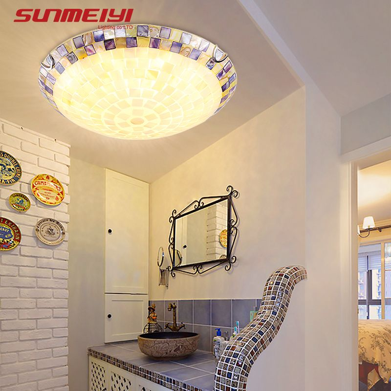 Tiffany Mediterranean style natural shell ceiling lights lustres night light led lamp floor bar home lighting Free shipping