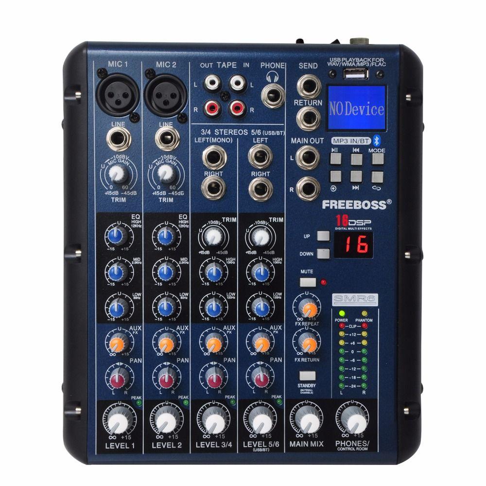Freeboss SMR6 Bluetooth Record 2 Mono + 2 stereo 6 Channels 3 <font><b>Band</b></font> EQ 16 DSP Effect USB Professional Audio Mixer