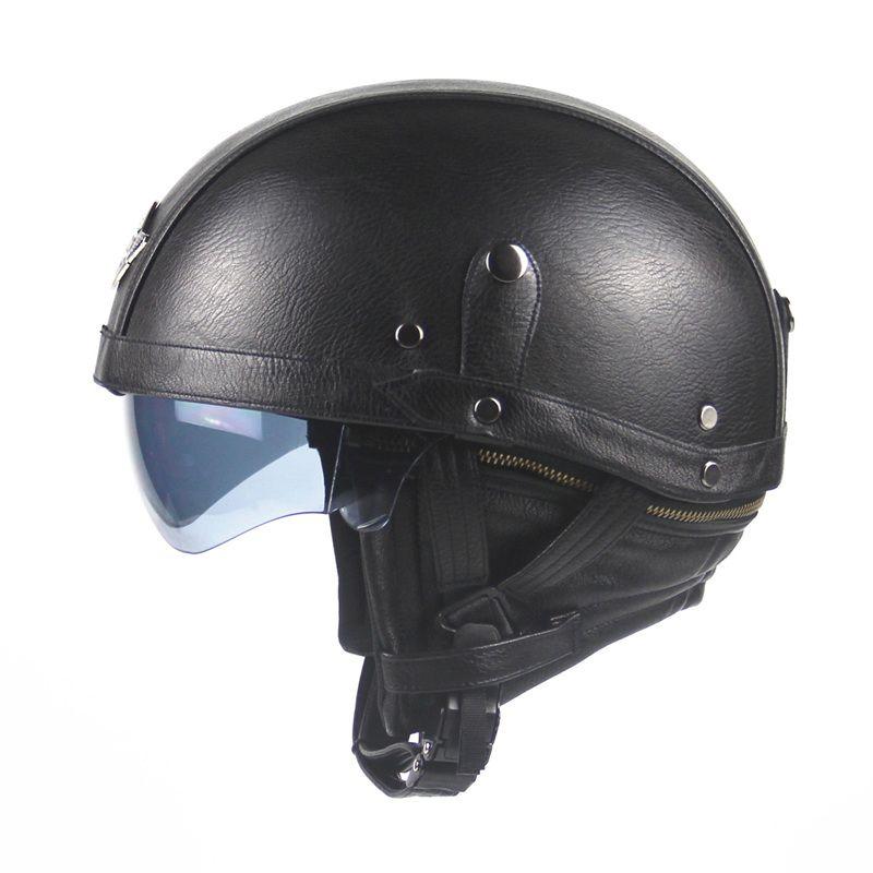 Black Adult Leather Harley Helmets For Motorcycle Retro Half Cruise Helmet Prince Motorcycle Helmet DOT Approved