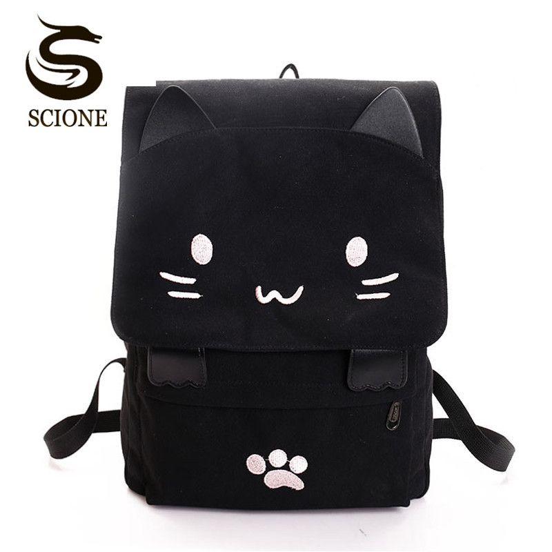 2018 Women Cute Cat Backpack Canvas Kawaii Backpacks <font><b>School</b></font> Bag for Student Teenagers Lovely Rucksack Cartoon Bookbags Mochilas