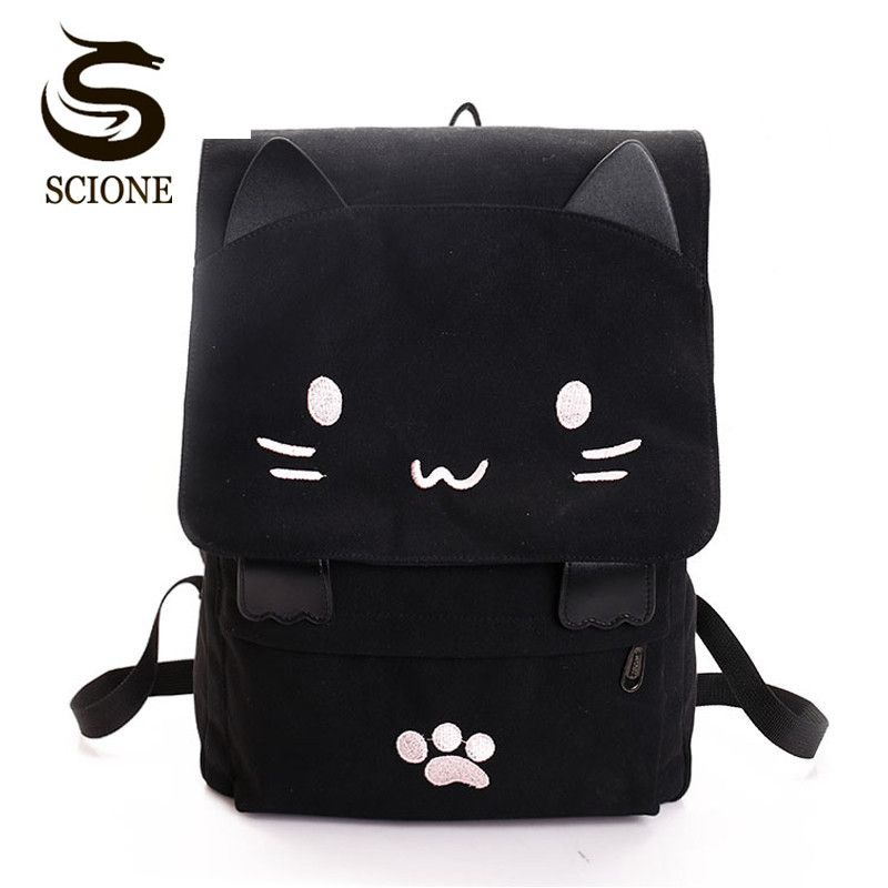 Women Cute Cat Backpack Canvas Kawaii Backpacks School Bag for Student Teenagers Lovely <font><b>Rucksack</b></font> Cartoon Bookbags Mochilas