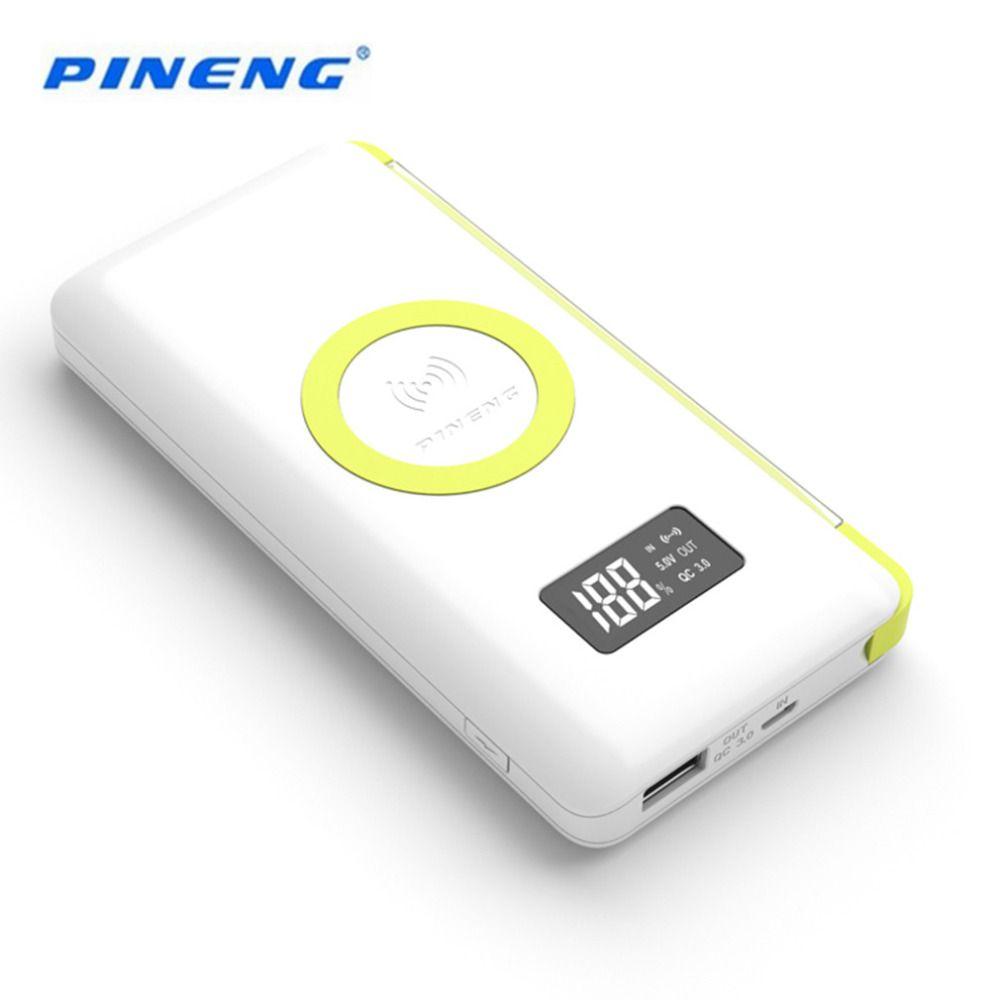 100% Original PINENG 10000 mAh Banco Móvil Portable de La Batería externa de Carga Inalámbrico Luz Incorporada Con WPC Q Estándar
