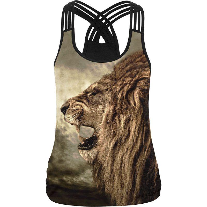 Cool! Lion Imprimer Femmes Camisole 10 Styles 3D Imprimé Noir Blanc Sexy Gilet Occasionnel Femelle Fitness Gymnases Élastique Harnais Réservoir Tops