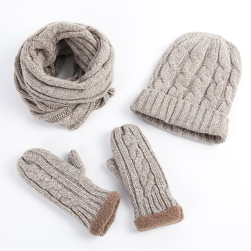 New Fashion Knitted Beanie Plus thick velvet Hat Scarf Gloves Set Wiomen Winter Scarves 3 Pieces Set Women Beanies Gorros