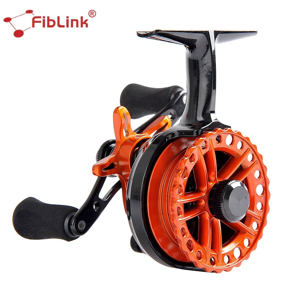Fiblink Inline 2.6:1 Ice Fishing Reel 4+1BB Ball Bearings Plastic Raft Ice fishing Reels Right/Left In Line Ice Reel