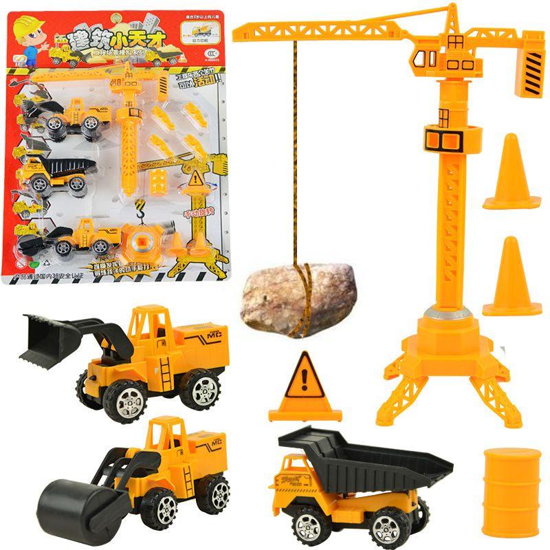 Nueva Tire Emulational Boy Kids juguete vehículos de Construcción De La Grúa del coche de Ingeniería Excavadora bulldozer coches juguetes Diecast car Model