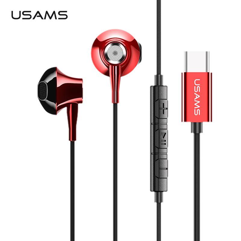 USAMS métal Type C dans l'oreille écouteur haute qualité Hifi stéréo casque Microphone filaire in ear écouteur type c pour Samsung Huawei LG