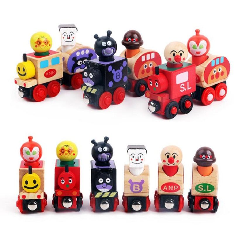 SUKIToy En Bois jouet Anpanman Magnétique Train Thomas Train En Bois Jouets Magnétique Véhicule Blocs Enfants Cadeau Éducatif WD123