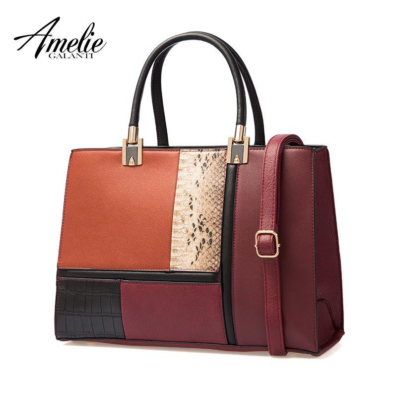 AMELIE GALANTI 2018 new autumn and winter women bag stitching fashion ladies handbag luxury women bags designer