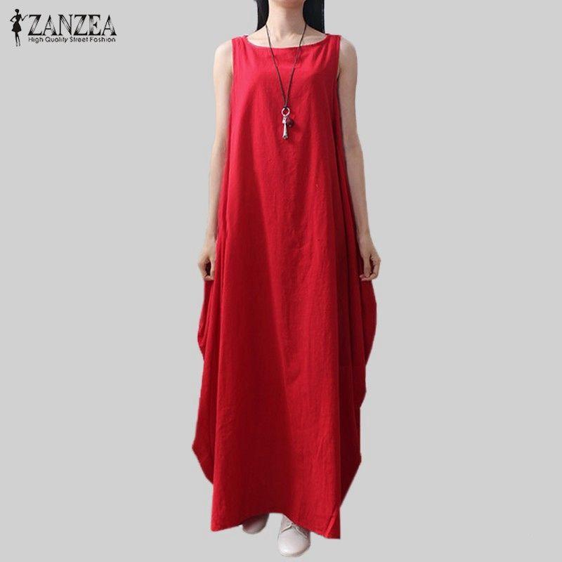 Casual Retro Solid Summer Dress 2018 ZANZEA Women Elegant <font><b>Loose</b></font> Sleeveless Dress Cotton Linen Long Maxi Dress Vestidos Plus Size
