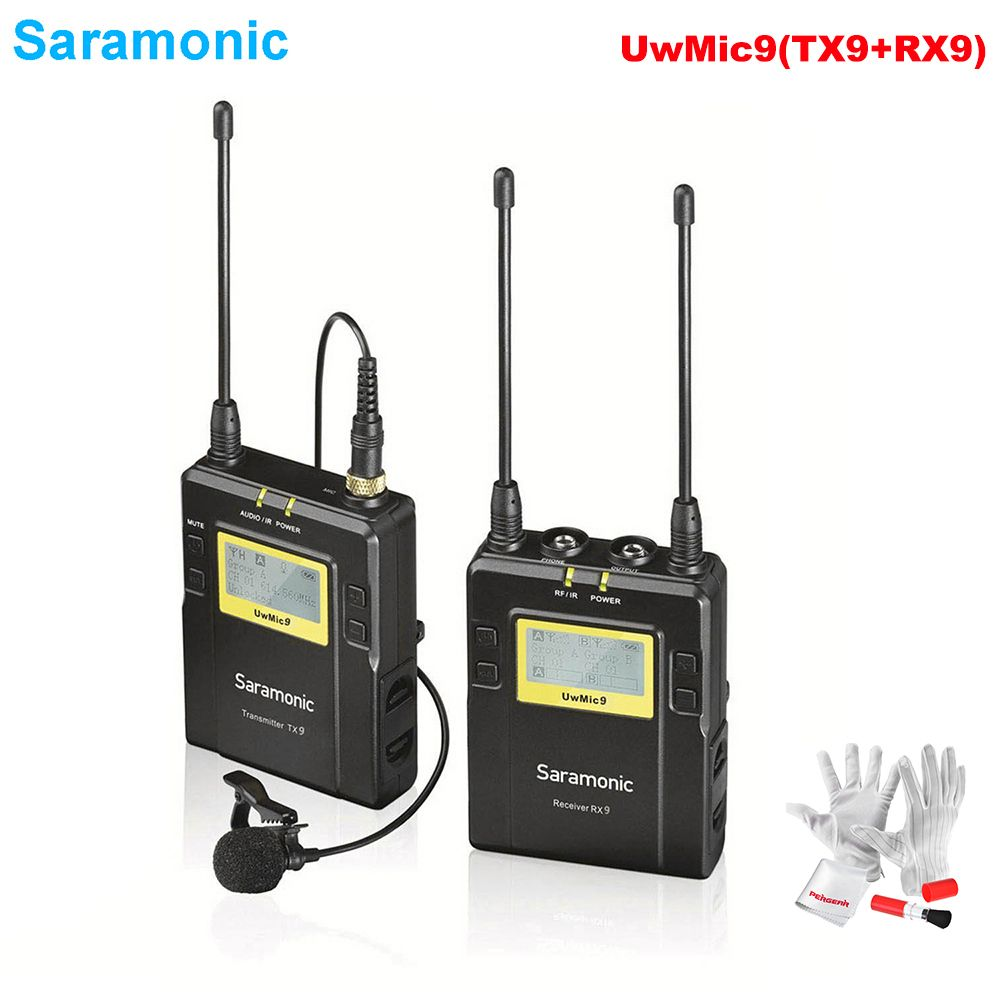 Saramonic UwMic9(RX9+TX9) 96-Channel Broadcast UHF Wireless Lavalier Microphone System for Sony Canon Nikon DSLR & Camcorders