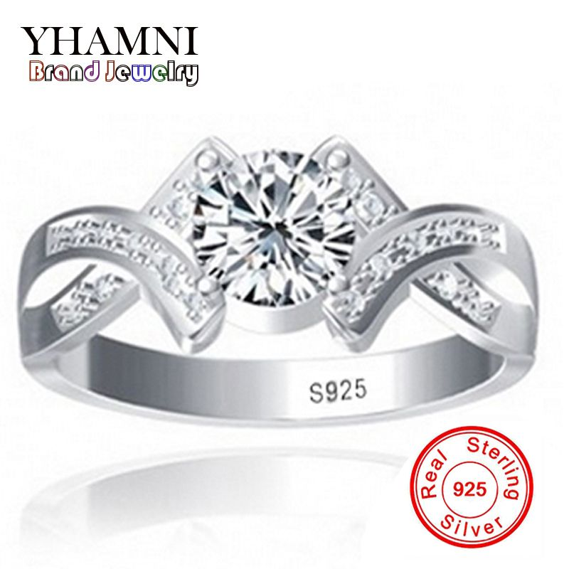 Sent Silver Certificate Real 100% 925 Sterling Silver Ring Sona 1 Carat CZ Diamant Wedding Engagement Rings For Women Y500011