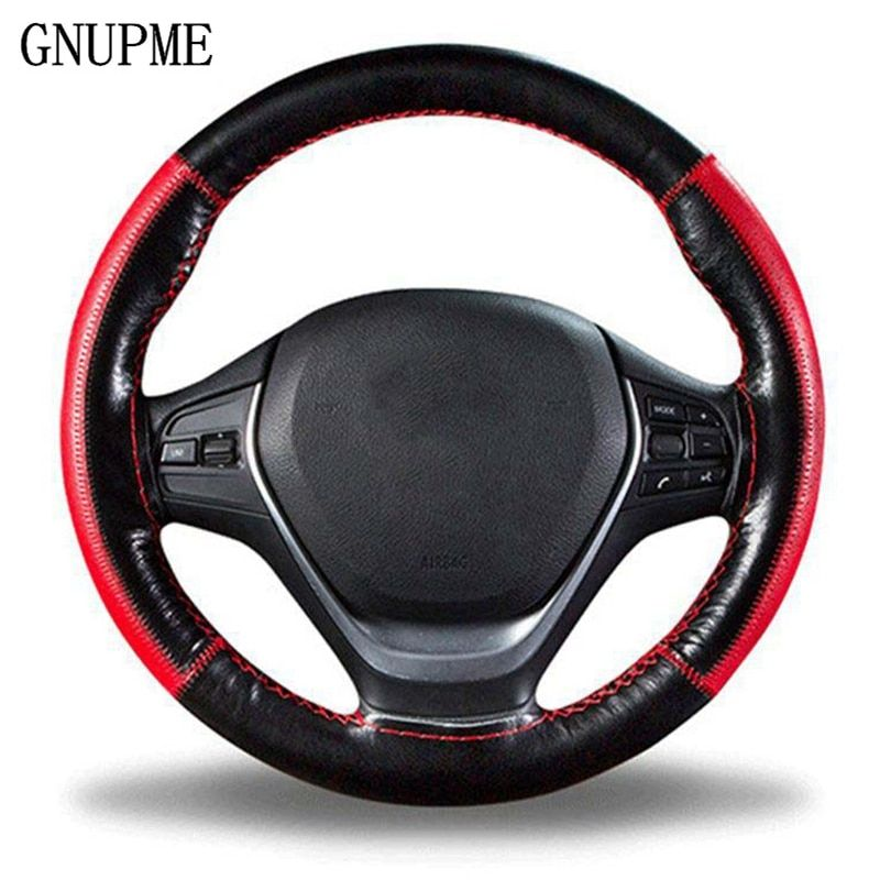 DIY Braid on the Steering Wheel Soft Genuine Leather Steering Wheel Cover 38cm Universal Steering Covers With Needle and Thread