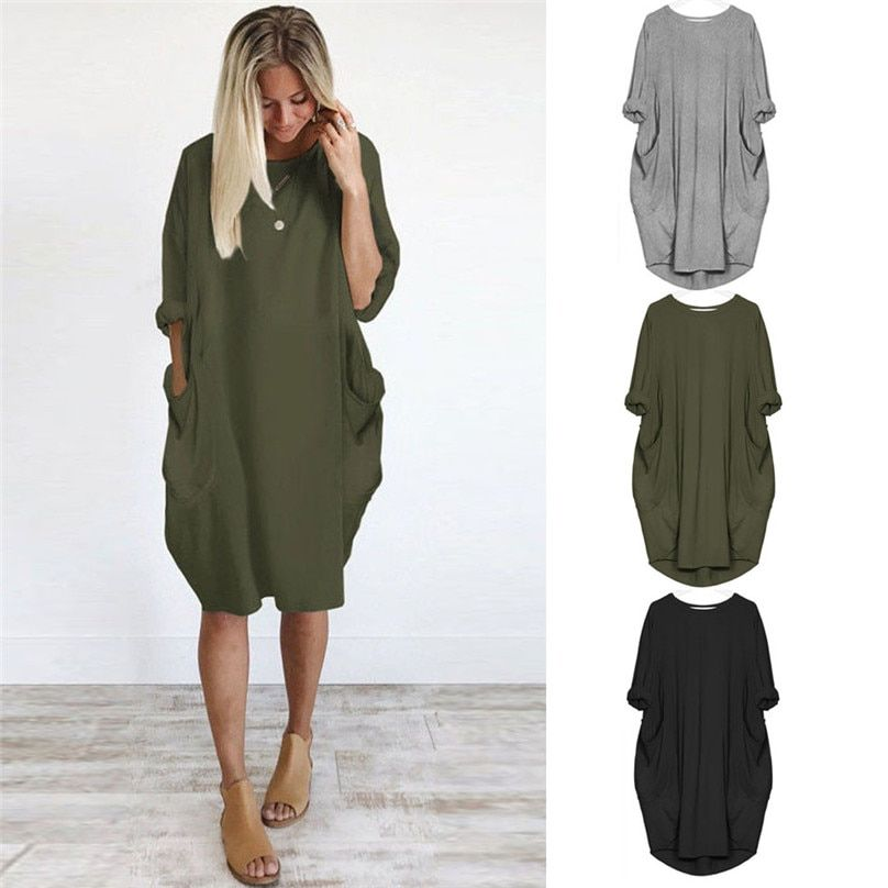 2018 Womens Pocket Loose Dress Ladies Crew Neck Casual Long Tops Dress Plus Size #A11