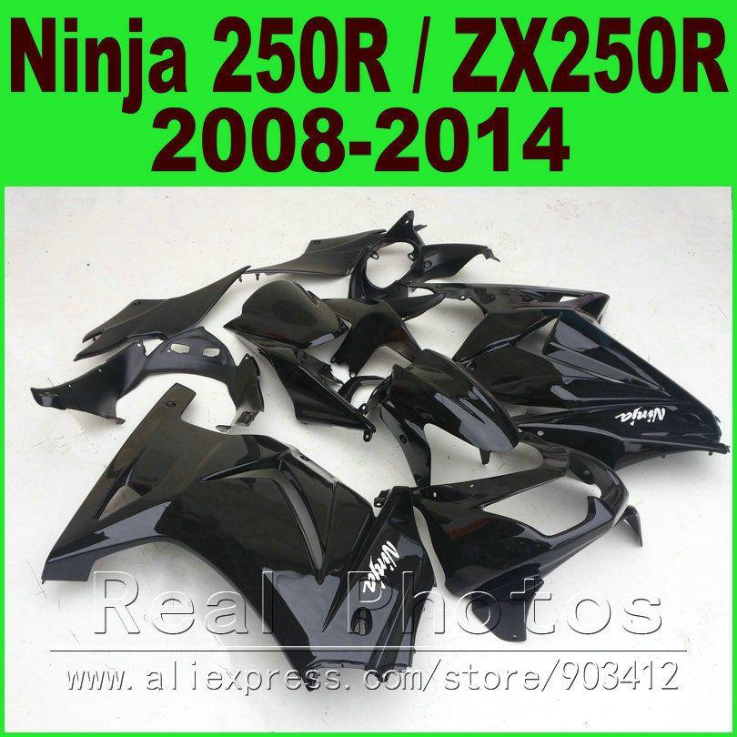 Glossy black OEM Kawasaki Ninja 250r Fairings kit EX250 2008 - 2014 year model ZX 250 08 09 10 11 12 13 14 fairing kits R8L7